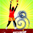 Woman Tennis player poster. Colored Vector illustration for desi - Foto Stock