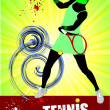 Woman Tennis player poster. Colored Vector illustration for desi - Lizenzfreies Foto
