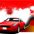 Stock Photo: Grunge abstract hi-tech background with car coupe image. Vector