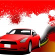 Grunge abstract hi-tech background with car coupe image. Vector — Stock Photo