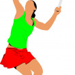 Tennis player. Colored Vector illustration for designers - Foto Stock