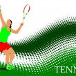 Poster of Woman Tennis player. Colored Vector illustration for d - Zdjęcie stockowe