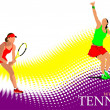 Poster of Woman Tennis player. Colored Vector illustration for d - Lizenzfreies Foto