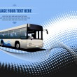 Stock Photo: Blue dotted background with city bus image. Vector illustration