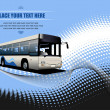 Blue dotted background with city bus image. Vector illustration — Stock Photo