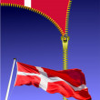 Zipper open Danish flag. Flag of Denmark. — Stock Photo