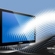 Stock Photo: Blue dotted background with Flat computer monitor. Display. Vect
