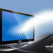 Blue dotted background with Flat computer monitor. Display. Vect — Stock Photo