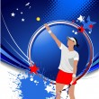 Poster of Woman Tennis player. Colored Vector illustration for d - Foto Stock