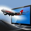 Blue dotted background with Flat computer monitor with passenger plane. Di - Stock Photo