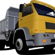 Stockfoto: Yellow truck on road. Lorry. Vector illustration