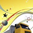 Yellow business background with truck image. Vector illustratio — Stock Photo