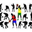 Stock Photo: Basketball player silhouettes. Vector illustration