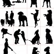 Set of dogs silhouette. Vector illustration — Stock fotografie