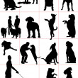 Set of dogs silhouette. Vector illustration - Stock Photo