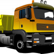 Yellow truck on the road. Vector illustration - Stock Photo