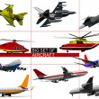 Big set of aircraft. Vector illustration — Stock Photo