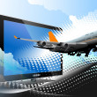 Blue dotted background with Flat computer monitor with passenger — Stock Photo