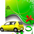 Green background and yellow car sedan on the road. Vector illust - Stock Photo
