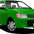 Green colored car sedan on the road. Vector illustration — Stock Photo