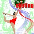 Stock Photo: Figure skating colored silhouettes. Vector illustration