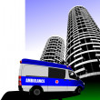 Ambulance minibus on the road and city silhouette. Vector illust - Stock Photo