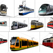 City transport. Ten kinds of Tram. Vintage and modern. Vector il — Stock Photo