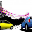 Two cars with Paris image background. Vector illustration — Stock Photo