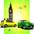 Royalty-Free Stock Photo: London Poster  with two cars image. Vector illustration