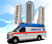 Dormitory and ambulance. Vector illustration — Stock Photo