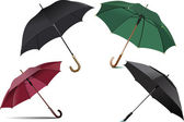 Four types of opened rain umbrella. Vector illustration — Стоковое фото