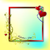 Valentine`s day frame with hearts images. Place for text. Vector illustrat — Stok fotoğraf