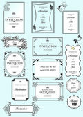 Set of ornate frames and ornaments with sample text. Perf — Stock Photo
