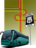 Cover for brochure with junction and bus image. Vector — Stock Photo