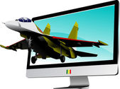 Combat started from flat computer monitor. Display. Vector illus — Foto de Stock