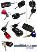Big set of ignition car keys with remote control isolated over w — Stock Photo
