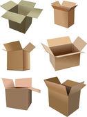 Conjunto de caixas da caixa isolada sobre um fundo branco — Foto Stock