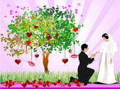Decorative Valentine`s Day tree with hearts, lips, bride and gro — Photo