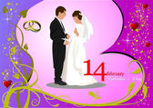 Valentine`s Day Greeting Card with bride and groom images. Vect — Stock Photo