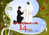 Valentine`s Day Greeting Card with bride and groom. Vector illu — Stock Photo