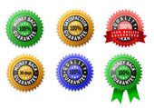 Vector labels for satisfaction, quality and money back guarantee — Stock Photo