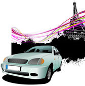 Hell blaues Auto mit Paris Bildhintergrund. Vektor-illustration — Stockfoto