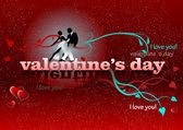 Valentine`s Day red background with tango pair. 14 February. vec — Stock Photo