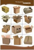 Grande conjunto de caixas de empacotamento da caixa isolada sobre um branco backgrou — Foto Stock