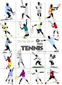 Big set of Man Tennis player. Colored Vector illustration for de — Stock Photo