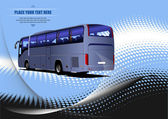 Blue dotted background with tourist bus image. Coach. Vector ill — Stock Photo