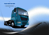 Blue abstract background with truck image. Vector illustration — Stock Photo
