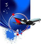 синий абстрактный фон с изображением пассажирского самолета. вектор иллю — Стоковое фото