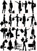 Woman shopping silhouettes. Vector illustration — Stock Photo