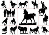 Fifteen horse silhouettes. Vector illustration — Stock Photo